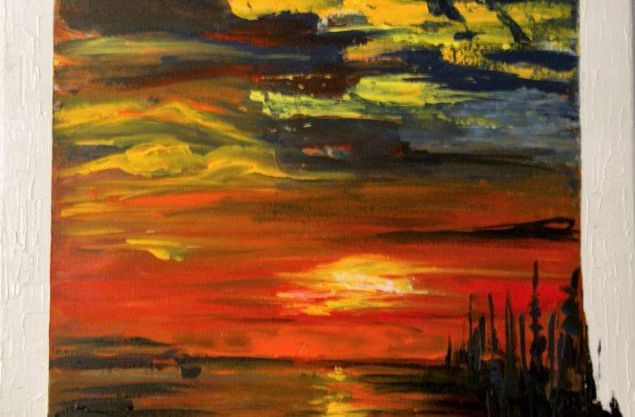 Sonnenaufgang, Acryl auf Keilrahmen 60 x 60 cm