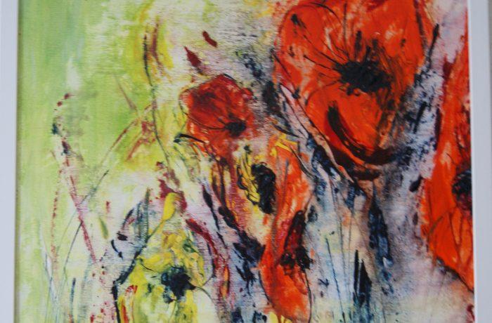 Blumengruß, Acryl auf Keilrahmen mit Rahmen, 54 x 44 cm