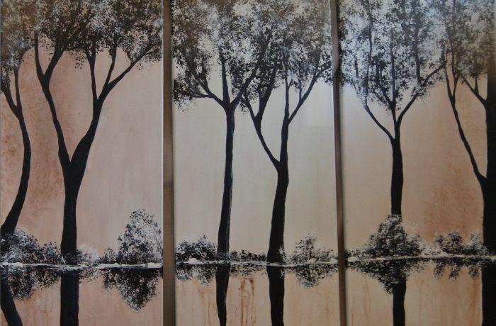 Raureif, Acryl auf Keilrahmen 3 x je 30 x 80 cm