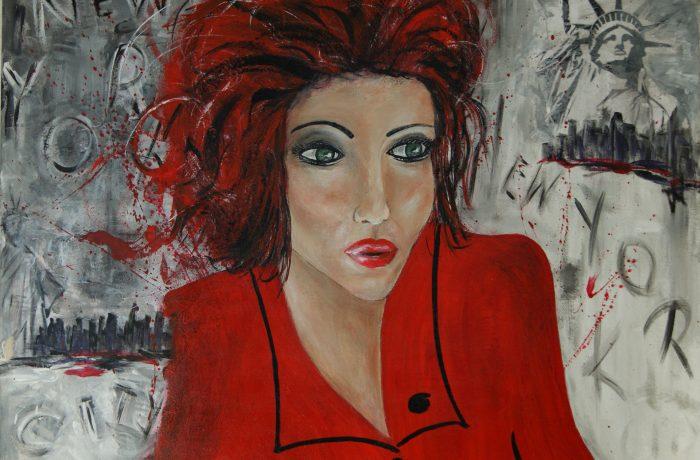 Lady in Red, Acryl auf Keilrahmen 80 x 60 cm