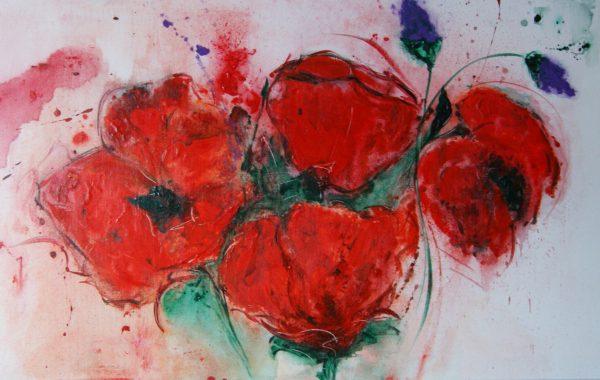 Blumenwalzer, Acryl auf Keilrahmen 100 x 50 cm