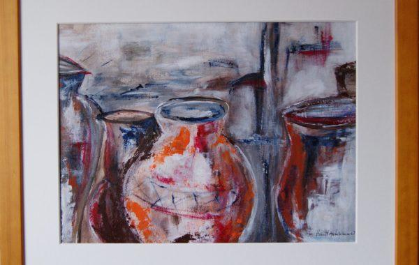 Stilleben Krüge, Acryl auf Karton mit Rahmen und Verglasung 55 x 45 cm