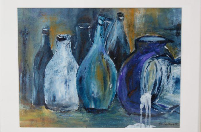 Stilleben Flaschen, Acryl auf Karton mit Rahmen und Verglasung 55 x 45 cm