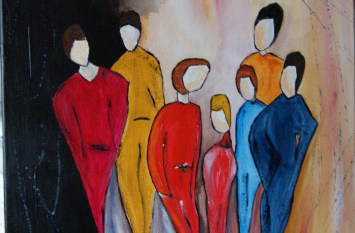 Gemeinsam statt einsam, Acryl auf Keilrahmen 50 x 50 cm (1)
