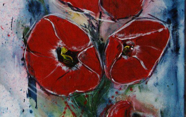 Roter Mohn, Acryl auf Keilrahmen, 25 x 58 cm