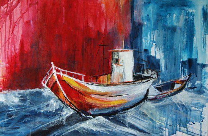 Schiff ahoi, Acryl auf Keilrahmen 80 x 60 cm