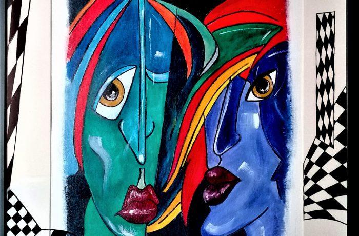Abstrakter Kubismus VII, Acryl auf Karton mit Rahmen und Verglasung 44 x 54 cm