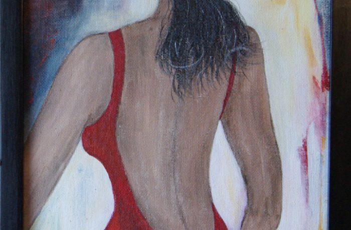 Damenwahl, Acryl auf Spanplatte mit Rahmen  37 x 100 cm