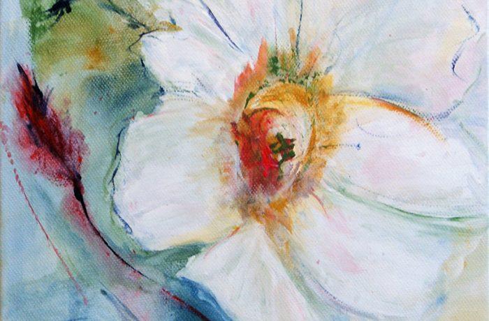 Weiße Wildrose, Acryl auf Keilrahmen 25 x 58 cm