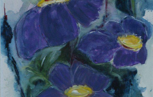 Lila Blumen, Acryl auf Keilrahmen  25 x 58 cm