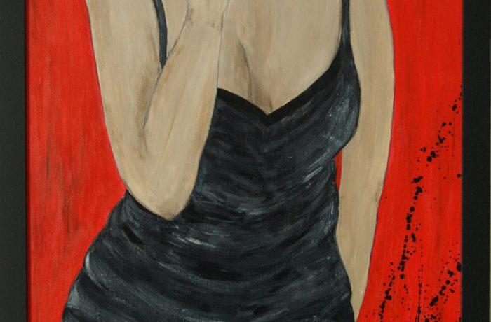 Erwartung, Acryl auf Spanplatte mit Rahmen 52 x 72 cm
