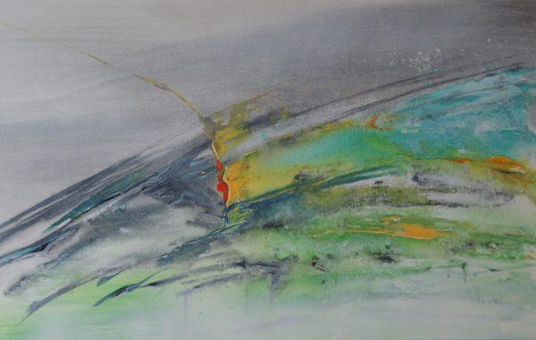 Grüner See-abstrakt, Acryl auf Keilrahmen 100 x 50