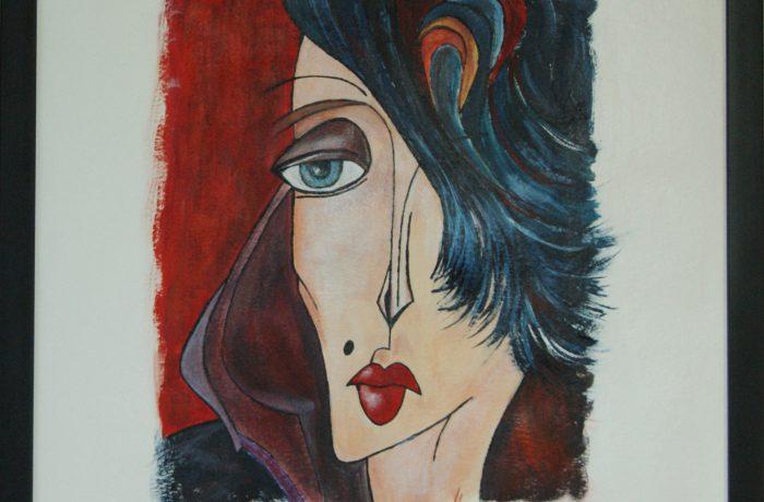 Abstrakter Kubismus IX, Acryl auf Karton mit Rahmen und Verglasung 44 x 54 cm