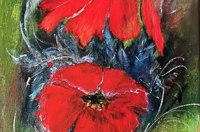 Rote Blume, Acryl auf Keilrahmen 25 x 58 cm