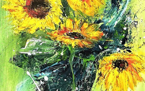 Sonnenblume, Acryl auf Keilrahmen 25 x 58 cm