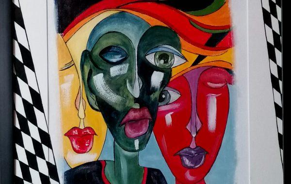 Abstrakter Kubismus VIII, Acryl auf Karton mit Rahmen und Verglasung 44 x 54 cm