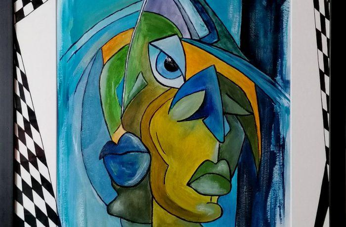Abstrakter Kubismus II, Acryl auf Karton mit Rahmen und Verglasung 44 x  54 cm