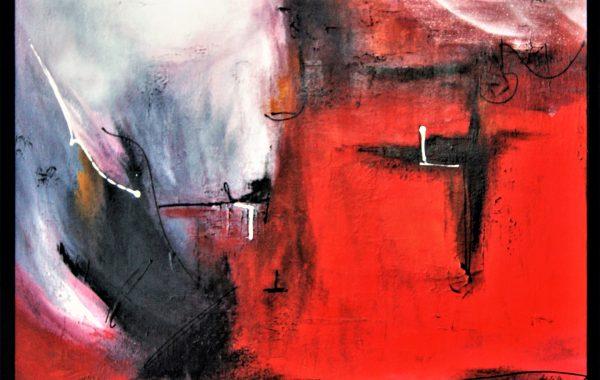 Feuer und Eis, Acryl auf Keilrahmen mit Rahmen  83 x 63 cm