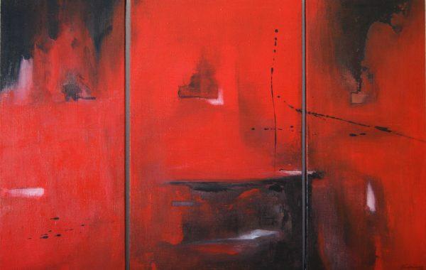 Red, Acryl auf Keilrahmen 1x 35×58 cm, 2x 25×58 cm