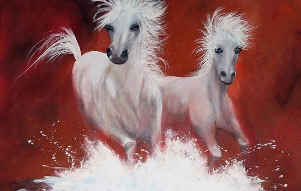 Pferde, Eitempera auf Keilrahmen  80 x 70 cm
