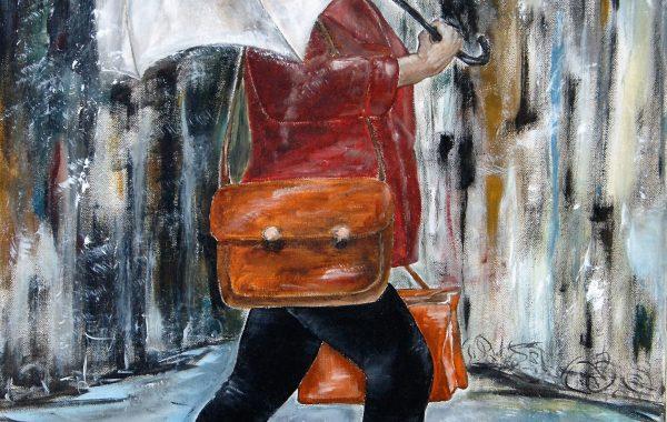Bussiness-Lady, Acryl auf Keilrahmen 60 x 80 cm