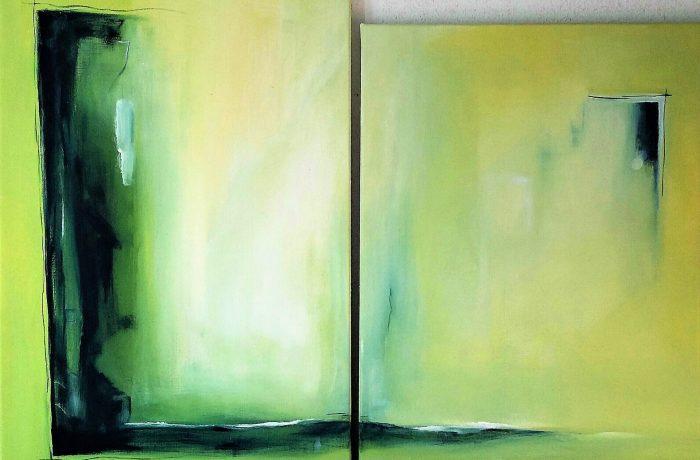 Sehnsucht, Eitempera auf Keilrahmen 1 x 50 x 80 cm, 1 x  50 x 70 cm