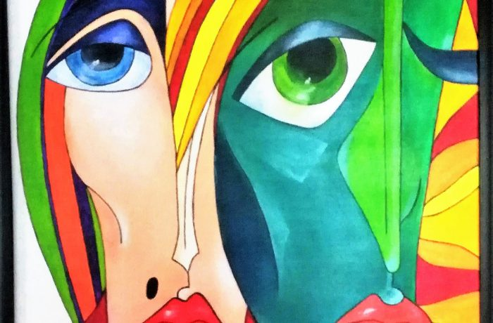 Kubismus, Acryl auf Keilrahmen mit Rahmen 63 x 83 cm