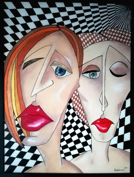 Kubismus – my art, Acryl auf Keilrahmen mit Rahmen 63 x 83 cm ( dieses Bild ist Semifinalist bei der SWISSARTEXPO Zürich )
