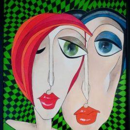 Kubismus IV, Acryl auf Keilrahmen mit Rahmen 63 x 83 cm