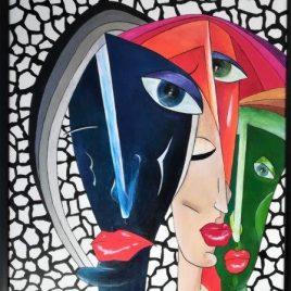 Kubismus V, Acryl auf Keilrahmen mit Rahmen 63 x 83 cm