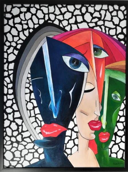 Kubismus – friendship, Acryl auf Keilrahmen mit Rahmen 63 x 83 cm