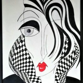 Kubismus Lady I black&white, Acryl auf Keilrahmen mit Rahmen 63 x 83 cm