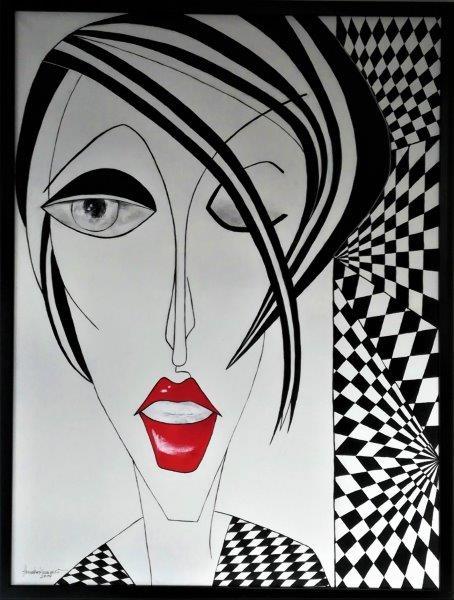Kubismus Lady II black&white, Acryl auf Keilrahmen mit Rahmen 63 x 83 cm