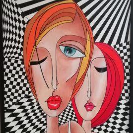 Kubismus VI, Acryl auf Keilrahmen mit Rahmen 63 x 83 cm