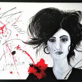 Fashion-Lady, Acryl auf Keilrahmen mit Rahmen 83 x 63 cm