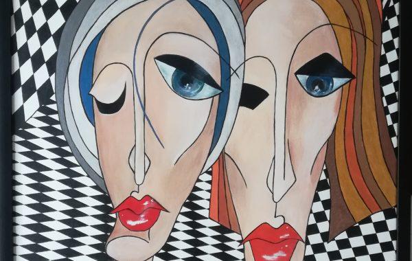 Kubismus – business friends, Acryl auf Keilrahmen mit Rahmen 63 x 83 cm