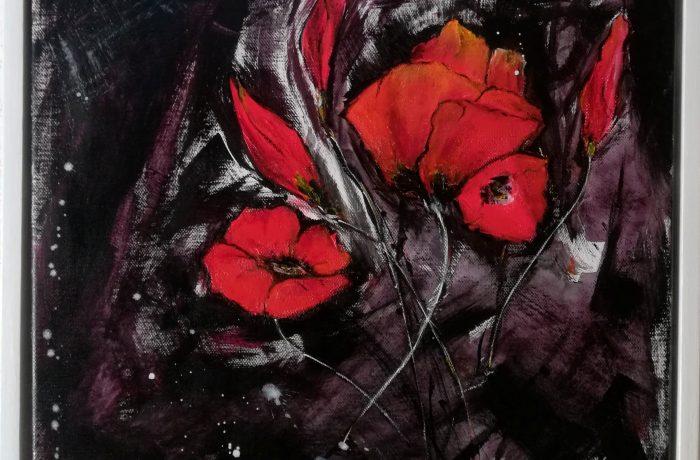 Es blüht der Mohn, Acryl auf Keilrahmen, 43 x 43 cm mit Rahmen