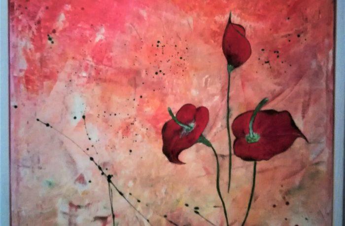 Liebelei, Acryl auf Keilrahmen, 43 x 43 cm mit Rahmen