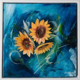 Der Sonne entgegen, Acryl auf Keilrahmen, 43 x 43 cm mit Rahmen