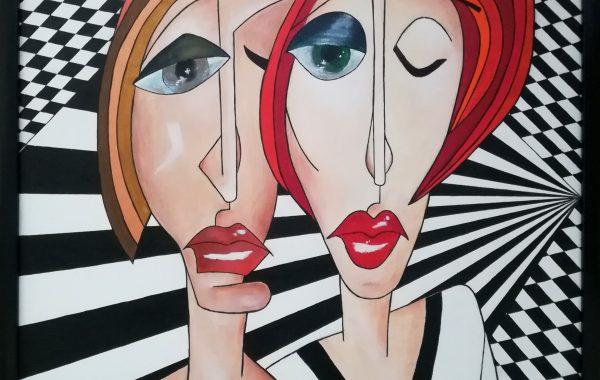 Kubismus – It´s love ! , Acryl auf Keilrahmen mit Rahmen 63 x 83 cm