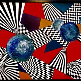 time – travel  ( Zeitreise ) , Acryl auf Keilrahmen mit Rahmen 103 x 73 cm
