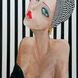 Lady of art, Acryl auf Keilrahmen mit Rahmen 63 x 83 cm