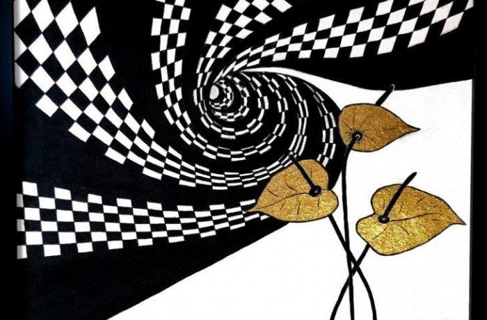 Golden dreams, Acryl und Blattgold auf Keilrahmen mit Rahmen 53 x 43 cm