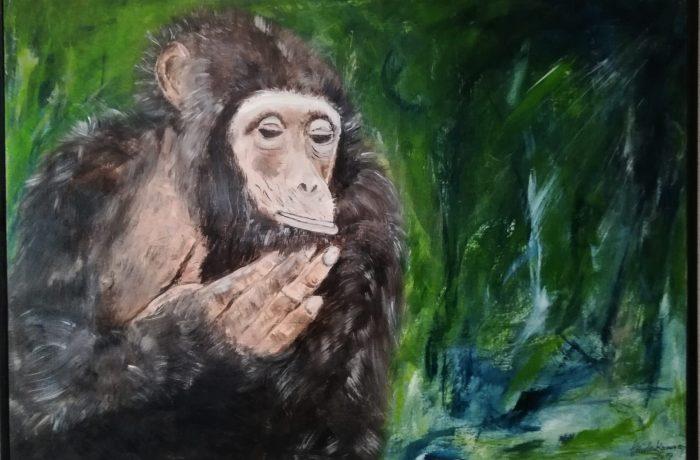 """Leben und leben lassen…und ein friedliches Miteinder von Mensch und Tier, Acryl auf Keilrahmen mit Rahmen 70 x 50 cm ( Beitrag zum Kunstprojekt """"Die letzten Tiere dieser Erde"""" von Artfactory-Graz )"""