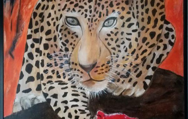 """"""" Auch ich habe ein Recht zu leben """", Acryl auf Keilrahmen mit Rahmen 50 x 70 cm ( Beitrag zum Kunstprojekt """"Die letzten Tiere dieser Erde"""" von Artfactory-Graz"""