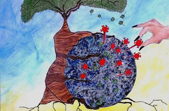 """Rettende Hände"" (Corona-Projekt), Acryl auf Keilrahmen 58 x 58 cm"