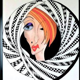 """"""" Madame """" , Acryl auf Keilrahmen mit Rahmen 63 x 83 cm"""