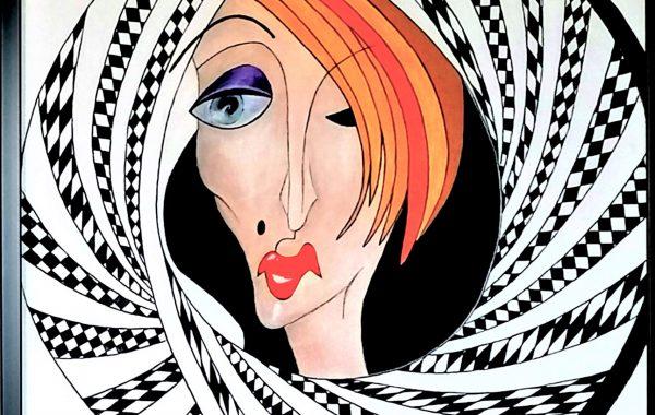 """"""" Madame """" , Acryl auf Keilrahmen mit Rahmen 63 x 83 cm ( dieses Bild hat es bei ARTBOX.PROJECTS World 1.0 ins Semifinale geschafft )"""