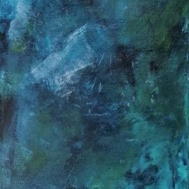 Abstrakt blau-grün, Acryl auf Keilrahmen 35 x 100 cm