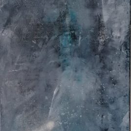 Abstrakt grau-türkis, Acryl auf Keilrahmen 35 x 100 cm